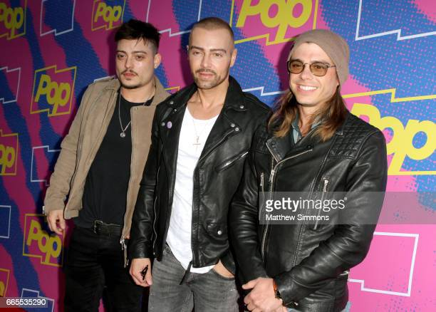 Actors Andrew Lawrence Joey Lawrence and Matthew Lawrence attend the premiere of Pop TV's 'Hollywood Darlings' at iPic Theaters on April 6 2017 in...