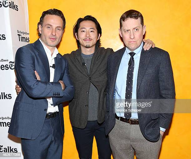 Actors Andrew Lincoln and Steven Yeun and writer and executive producer Scott M Gimple attend TimesTalks The Walking Dead at TheTimesCenter on...