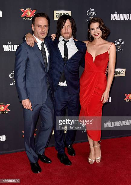 Actors Andrew Lincoln Norman Reedus and Lauren Cohan attend the season 5 premiere of 'The Walking Dead' at AMC Universal City Walk on October 2 2014...