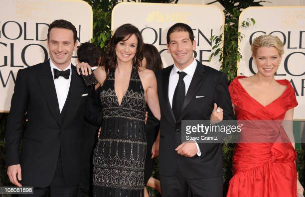 Actors Andrew Lincoln Sarah Wayne Callies Jon Bernthal and Laurie Holden arrive at the 68th Annual Golden Globe Awards held at The Beverly Hilton...