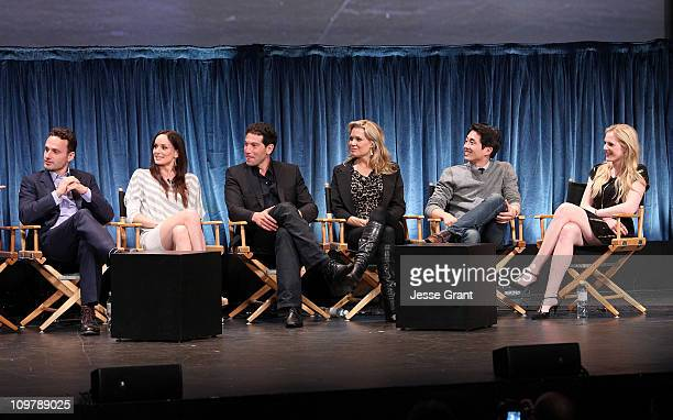 Actors Andrew Lincoln Sarah Wayne Callies Jon Bernthal Laurie Holden Steven Yeun and Emma Bell attend 'The Walking Dead' Paley Festival Screening and...