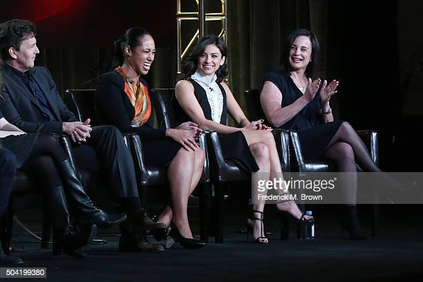 Actors Andrew McCarthy Margot Bingham and Floriana Lima and executive producer Laurie Zaks speak onstage during ABC's The Family panel as part of the...