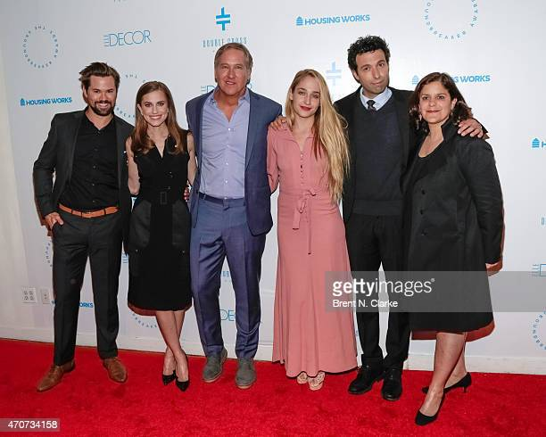 Actors Andrew Rannells Allison Williams founding chair of the Housing Works Design on a Dime annual fundraiser James Huniford actors Jemima Kirke...