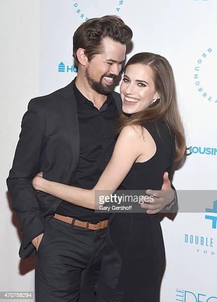 Actors Andrew Rannells and Allison Williams attend the 2015 Housing Works Groundbreaker Awards at Metropolitan Pavilion on April 22 2015 in New York...
