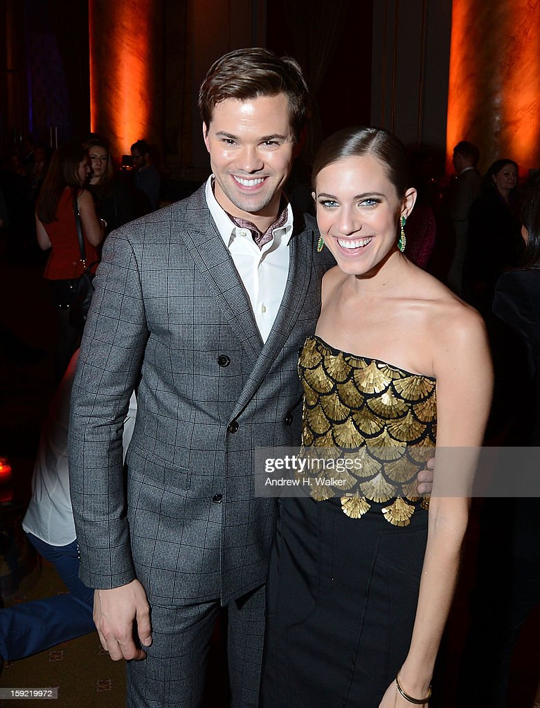 Actors <a gi-track='captionPersonalityLinkClicked' href=/galleries/search?phrase=Andrew+Rannells&family=editorial&specificpeople=2471329 ng-click='$event.stopPropagation()'>Andrew Rannells</a> and <a gi-track='captionPersonalityLinkClicked' href=/galleries/search?phrase=Allison+Williams+-+Actress&family=editorial&specificpeople=594198 ng-click='$event.stopPropagation()'>Allison Williams</a> attend the 'Girls' Season 2 After Party hosted by HBO at Capitale on January 9, 2013 in New York City.