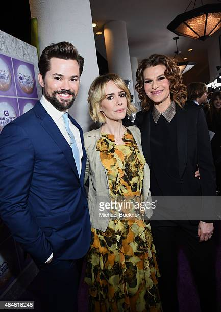 Actors Andrew Rannells Sarah Paulson and host Sarah Bernhardt attend the Family Equality Council's 2015 Los Angeles Awards dinner at The Beverly...