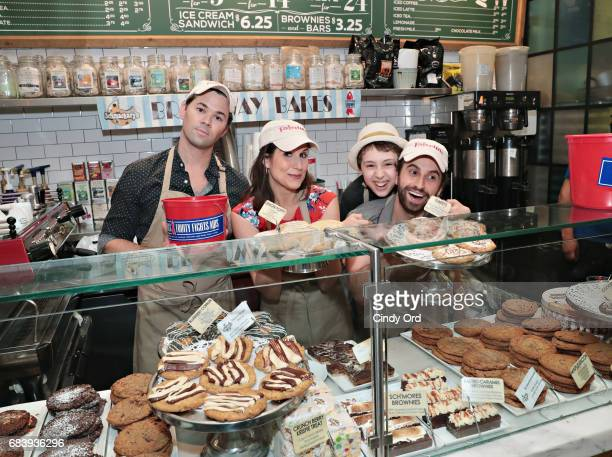 Actors Andrew Rannells Stephanie J Block Anthony Rosenthal and Brandon Uranowitz sell cookies as part of the 5th Annual Broadway Bakes Event...
