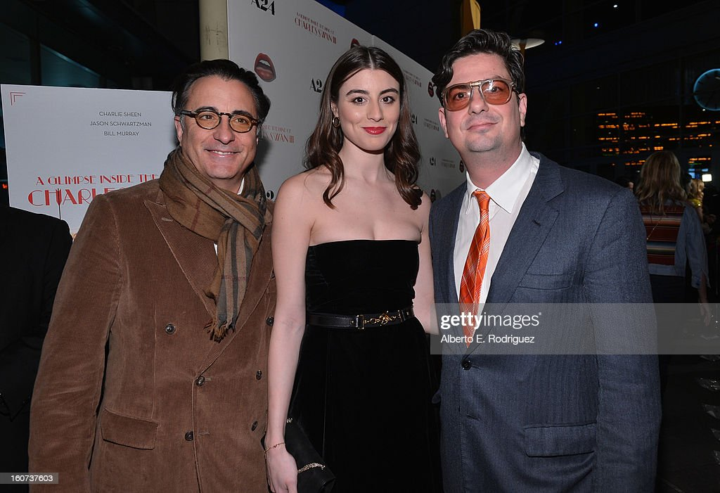 Actors <a gi-track='captionPersonalityLinkClicked' href=/galleries/search?phrase=Andy+Garcia&family=editorial&specificpeople=156410 ng-click='$event.stopPropagation()'>Andy Garcia</a> and <a gi-track='captionPersonalityLinkClicked' href=/galleries/search?phrase=Dominik+Garcia-Lorido&family=editorial&specificpeople=1424208 ng-click='$event.stopPropagation()'>Dominik Garcia-Lorido</a> and Director <a gi-track='captionPersonalityLinkClicked' href=/galleries/search?phrase=Roman+Coppola&family=editorial&specificpeople=615097 ng-click='$event.stopPropagation()'>Roman Coppola</a> attend the Los Angeles premiere of A24's 'A Glimpse Inside The Mind Of Charles Swan III' at ArcLight Hollywood on February 4, 2013 in Hollywood, California.