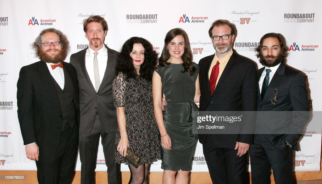 Actors Andy Grotelueschen, <a gi-track='captionPersonalityLinkClicked' href=/galleries/search?phrase=Samuel+Roukin&family=editorial&specificpeople=5129441 ng-click='$event.stopPropagation()'>Samuel Roukin</a>, <a gi-track='captionPersonalityLinkClicked' href=/galleries/search?phrase=Geraldine+Hughes&family=editorial&specificpeople=220583 ng-click='$event.stopPropagation()'>Geraldine Hughes</a>, Mikaela Feely- lehmann, Drew McVety and Ben Steinfeld attend 'Cyrano De Bergerac' Broadway Opening Night After Party at American Airlines Theatre on October 11, 2012 in New York City.