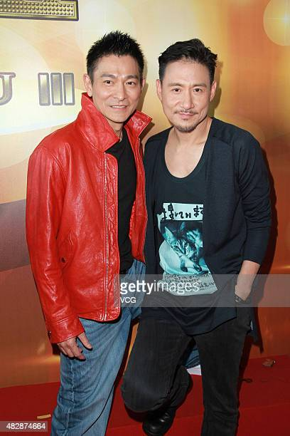 Actors Andy Lau and Jacky Cheung attend 'The Man From Macau III' press conference at TVB City on August 3 2015 in Hong Kong Hong Kong