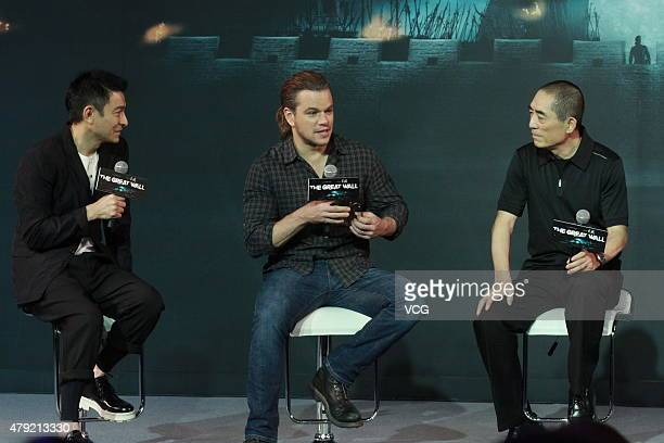 Actors Andy Lau Matt Damon and director Zhang Yimou attend 'The Great Wall' press conference at Park Hyatt Hotel on July 2 2015 in Beijing China