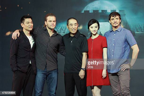 Actors Andy Lau Matt Damon director Zhang Yimou Jing Tian and Pedro Pascal attend 'The Great Wall' press conference at Park Hyatt Hotel on July 2...