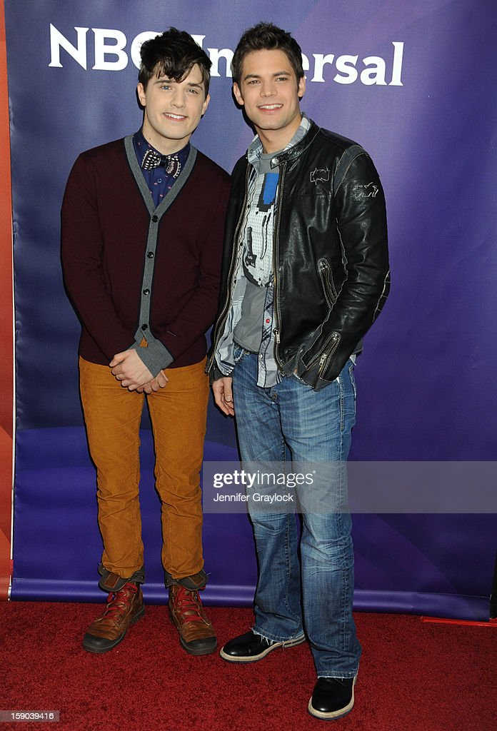 Actors Andy Mientus and Jeremy Jordan attend the NBC Winter TCA Press Tour held at the Langham Huntington Hotel and Spa on January 6, 2013 in Pasadena, California.