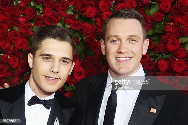 Actors Andy Mientus and Michael Arden attend the 70th Annual Tony Awards Arrivals at Beacon Theatre on June 12 2016 in New York City