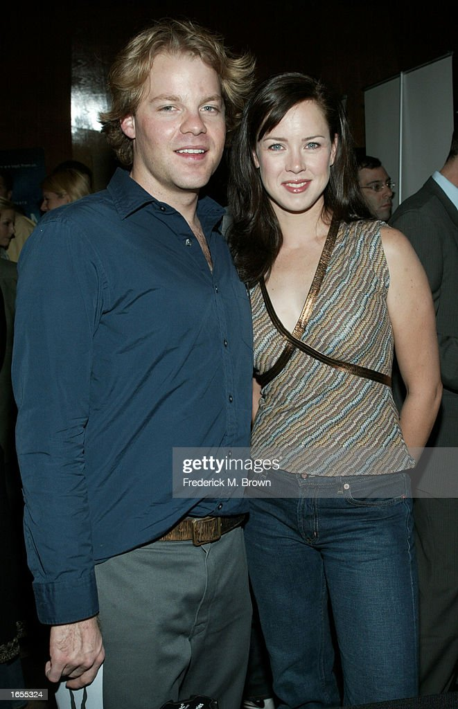 Actors Andy Powers and Heather Donahue attend the Los Angeles film premiere of 'Taken' at the Writer's Guild of America on November 21 2002 in...