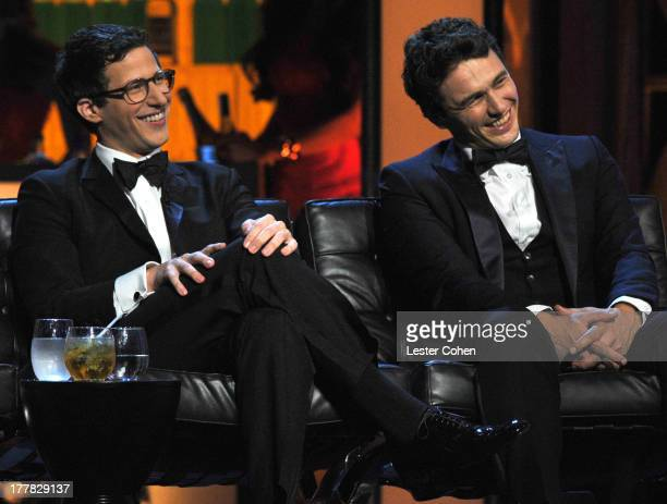 Actors Andy Samberg and James Franco onstage during The Comedy Central Roast Of James Franco at Culver Studios on August 25 2013 in Culver City...
