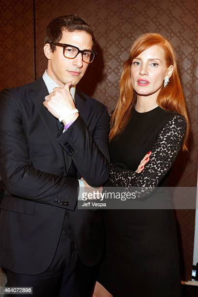 Actors Andy Samberg and Jessica Chastain attend the 2015 Film Independent Spirit Awards at Santa Monica Beach on February 21 2015 in Santa Monica...