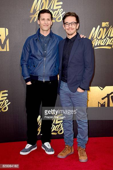 Actors Andy Samberg and Jorma Taccone of The Lonely Island attend the 2016 MTV Movie Awards at Warner Bros Studios on April 9 2016 in Burbank...