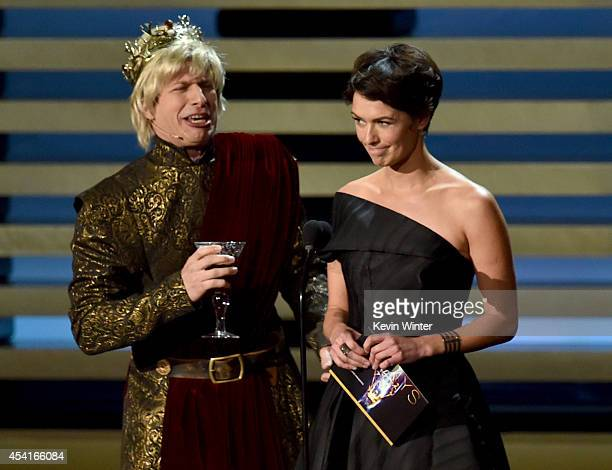 Actors Andy Samberg and Lena Headey speak onstage at the 66th Annual Primetime Emmy Awards held at Nokia Theatre LA Live on August 25 2014 in Los...