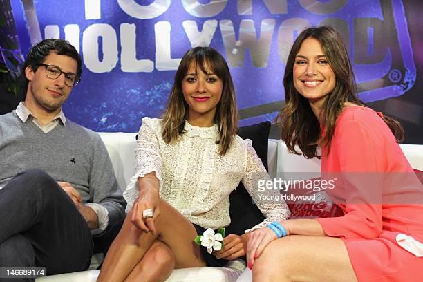 Actors Andy Samberg and Rashida Jones visit with host Nikki Novak at the Young Hollywood Studio on June 22 2012 in Los Angeles California