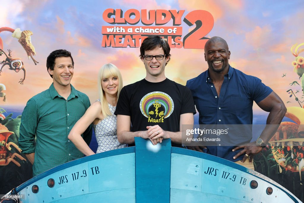 Actors <a gi-track='captionPersonalityLinkClicked' href=/galleries/search?phrase=Andy+Samberg&family=editorial&specificpeople=595651 ng-click='$event.stopPropagation()'>Andy Samberg</a>, <a gi-track='captionPersonalityLinkClicked' href=/galleries/search?phrase=Anna+Faris&family=editorial&specificpeople=213899 ng-click='$event.stopPropagation()'>Anna Faris</a>, <a gi-track='captionPersonalityLinkClicked' href=/galleries/search?phrase=Bill+Hader&family=editorial&specificpeople=757145 ng-click='$event.stopPropagation()'>Bill Hader</a> and <a gi-track='captionPersonalityLinkClicked' href=/galleries/search?phrase=Terry+Crews&family=editorial&specificpeople=569932 ng-click='$event.stopPropagation()'>Terry Crews</a> attend the 'Cloudy With A Chance Of Meatballs 2' Los Angeles Photo Call at the Four Seasons Hotel Los Angeles at Beverly Hills on September 15, 2013 in Beverly Hills, California.