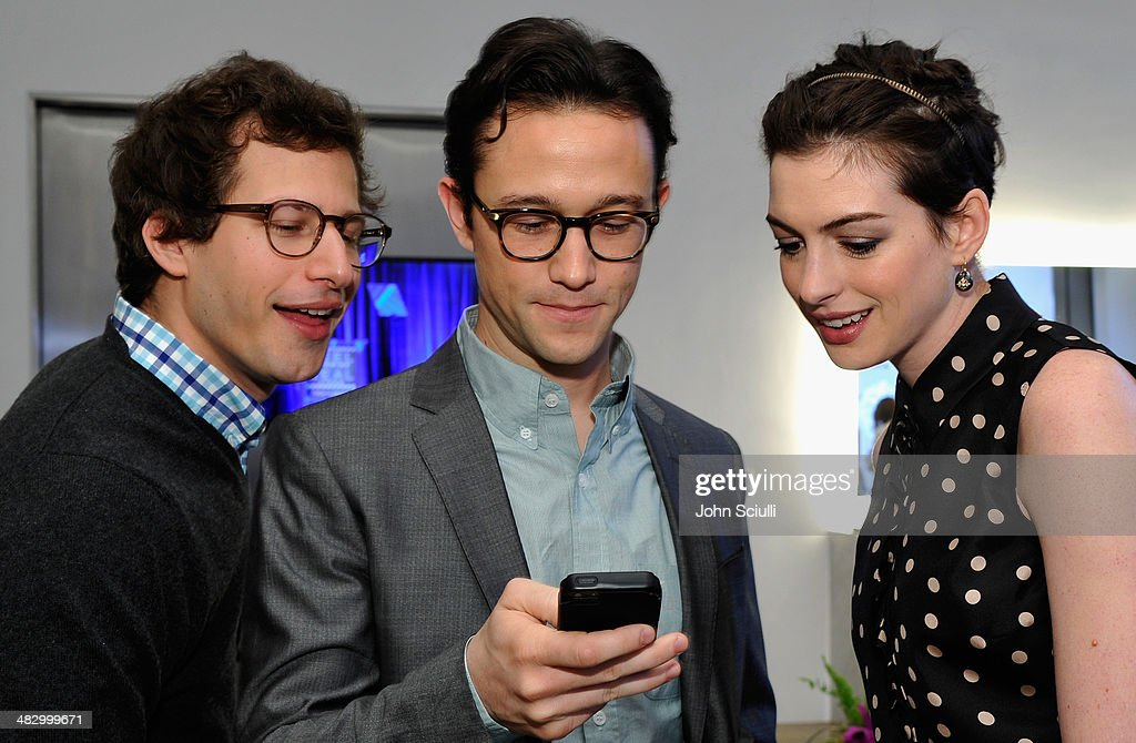 Actors <a gi-track='captionPersonalityLinkClicked' href=/galleries/search?phrase=Andy+Samberg&family=editorial&specificpeople=595651 ng-click='$event.stopPropagation()'>Andy Samberg</a>, <a gi-track='captionPersonalityLinkClicked' href=/galleries/search?phrase=Joseph+Gordon-Levitt&family=editorial&specificpeople=213632 ng-click='$event.stopPropagation()'>Joseph Gordon-Levitt</a> and <a gi-track='captionPersonalityLinkClicked' href=/galleries/search?phrase=Anne+Hathaway+-+Actress&family=editorial&specificpeople=11647173 ng-click='$event.stopPropagation()'>Anne Hathaway</a> attend the 3rd Annual Reel Stories, Real Lives Benefiting The Motion Picture & Television Fund at Milk Studios on April 5, 2014 in Hollywood, California.