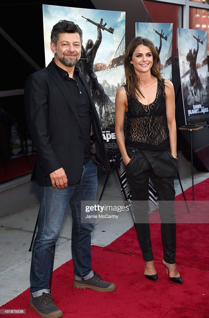 Actors Andy Serkis and Keri Russell attend the 'Dawn Of The Planets Of The Apes' premiere at Williamsburg Cinemas on July 8 2014 in New York City