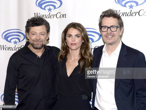 Actors Andy Serkis Keri Russell and Gary Oldman attend the 'Dawn of the Planet of the Apes' press line at WonderCon Anaheim 2014 at the Anaheim...