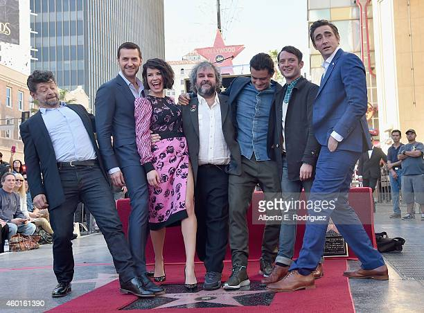 Actors Andy Serkis Richard Armitage Evangeline Lilly director Peter Jackson actors Orlando Bloom Elijah Wood and Lee Pace attend a ceremony honoring...