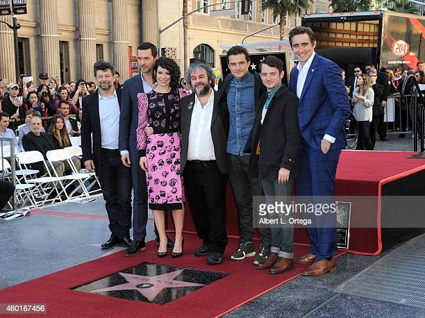 Actors Andy Serkis Richard Armitage Evangeline Lilly director Sir Peter Jackson Orlando Bloom Elijah Wood and Lee Pace at The Hollywood Walk Of Fame...