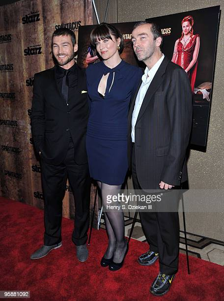 Actors Andy Whitfield Lucy Lawless and John Hannah attends the premiere of 'Spartacus Blood and Sand' at the Tribeca Grand Screening Room on January...