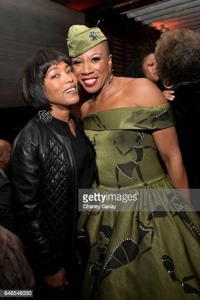"Actors Angela Bassett and Aisha Hinds attend the after party for WGN America's ""Underground"" Season Two Premiere Screening at Baltaire Restaurant on..."