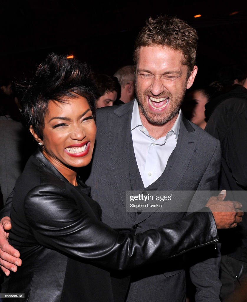 Actors <a gi-track='captionPersonalityLinkClicked' href=/galleries/search?phrase=Angela+Bassett&family=editorial&specificpeople=171174 ng-click='$event.stopPropagation()'>Angela Bassett</a> and <a gi-track='captionPersonalityLinkClicked' href=/galleries/search?phrase=Gerard+Butler+-+Actor&family=editorial&specificpeople=202258 ng-click='$event.stopPropagation()'>Gerard Butler</a> attend the after party for The Cinema Society with Roger Dubuis and Grey Goose screening of FilmDistrict's 'Olympus Has Fallen' at The Darby on March 11, 2013 in New York City.