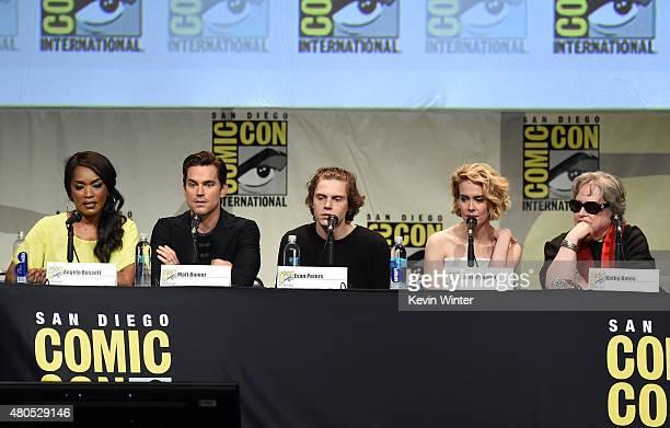 Actors Angela Bassett Matt Bomer Evan Peters Sarah Paulson and Kathy Bates speak onstage at the 'American Horror Story' and 'Scream Queens' panel...