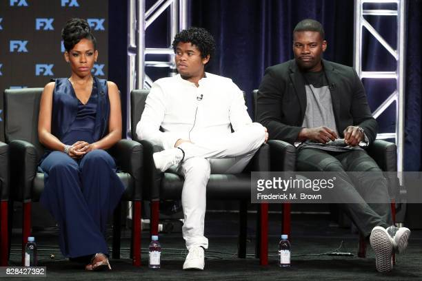 Actors Angela Lewis Isaiah John and Amin Joseph of 'Snowfall' speak onstage during the FX portion of the 2017 Summer Television Critics Association...