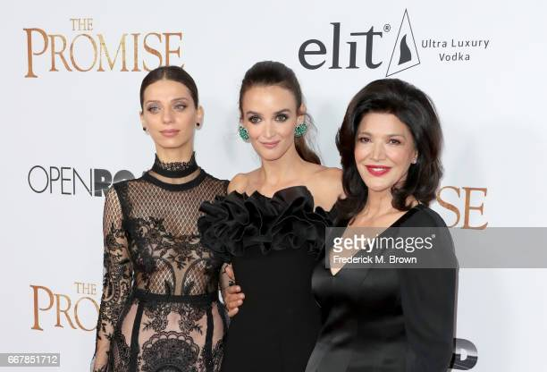 Actors Angela Sarafyan Charlotte Le Bon and Shohreh Aghdashloo attend the premiere of Open Road Films' 'The Promise' at TCL Chinese Theatre on April...
