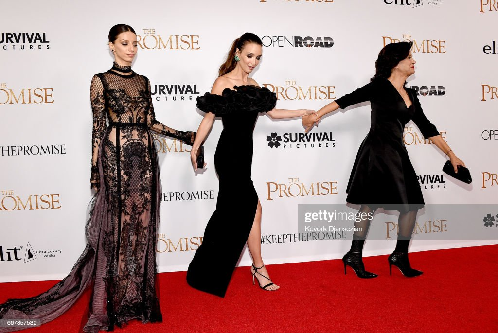 Actors Angela Sarafyan, Charlotte Le Bon, and Shohreh Aghdashloo attend the premiere of Open Road Films' 'The Promise' at TCL Chinese Theatre on April 12, 2017 in Hollywood, California.