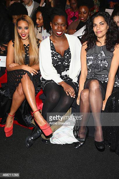 Actors Angela Simmons Adepero Oduye and Sarita Choudhury attend the Vivienne Tam fashion show with TRESemme during MercedesBenz Fashion Week Fall...