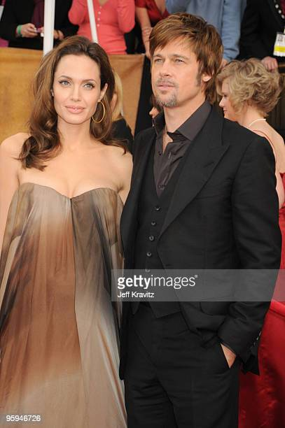 Actors Angelica Jolie and Brad Pitt arrives to the 14th Annual Screen Actors Guild Awards at the Shrine Auditorium on January 27 2008 in Los Angeles...