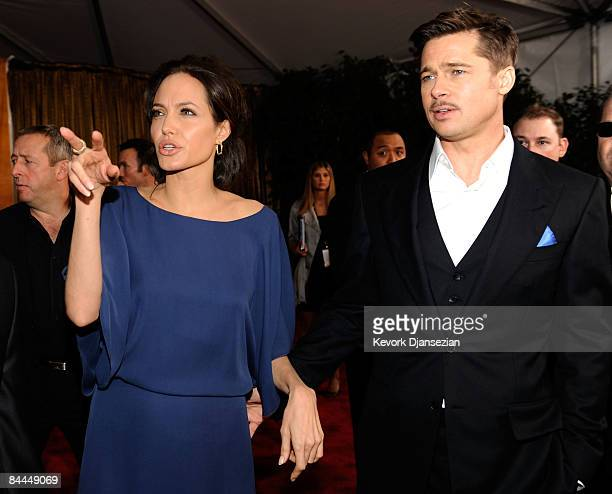Actors Angelina Jolie and Brad Pitt arrive at the 15th Annual Screen Actors Guild Awards held at the Shrine Auditorium on January 25 2009 in Los...