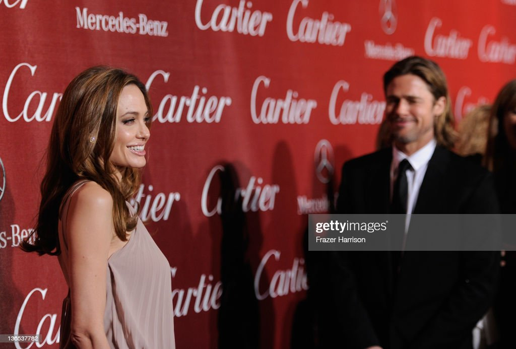 Actors Angelina Jolie and Brad Pitt arrive at the 2012 Palm Springs International Film Festival Awards Gala at Palm Springs Convention Center on January 7, 2012 in Palm Springs, California.