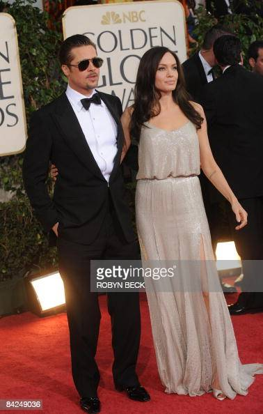 Actors Angelina Jolie and Brad Pitt arrive at the 66th Annual Golden Globe Awards held at the Beverly Hilton Hotel on January 11 2009 in Beverly...