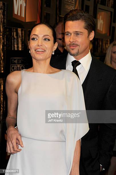 Actors Angelina Jolie and Brad Pitt arrive on the red carpet at VH1's 14th Annual Critics' Choice Awards held at the Santa Monica Civic Auditorium on...