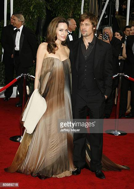 Actors Angelina Jolie and Brad Pitt arrive to the 14th Annual Screen Actors Guild Awards at the Shrine Auditorium on January 27 2008 in Los Angeles...