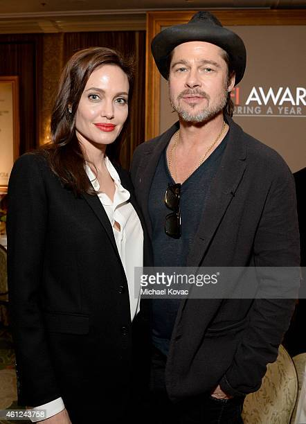 Actors Angelina Jolie and Brad Pitt attend the 15th Annual AFI Awards Luncheon at Four Seasons Hotel Los Angeles at Beverly Hills on January 9 2015...