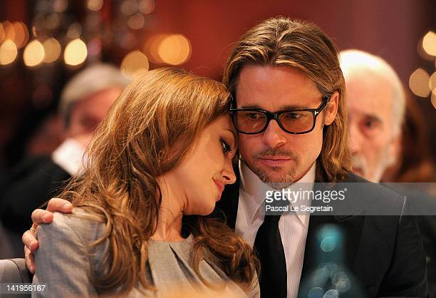 Actors Angelina Jolie and Brad Pitt attend the Cinema for Peace Gala ceremony at the Konzerthaus Am Gendarmenmarkt during day five of the 62nd Berlin...