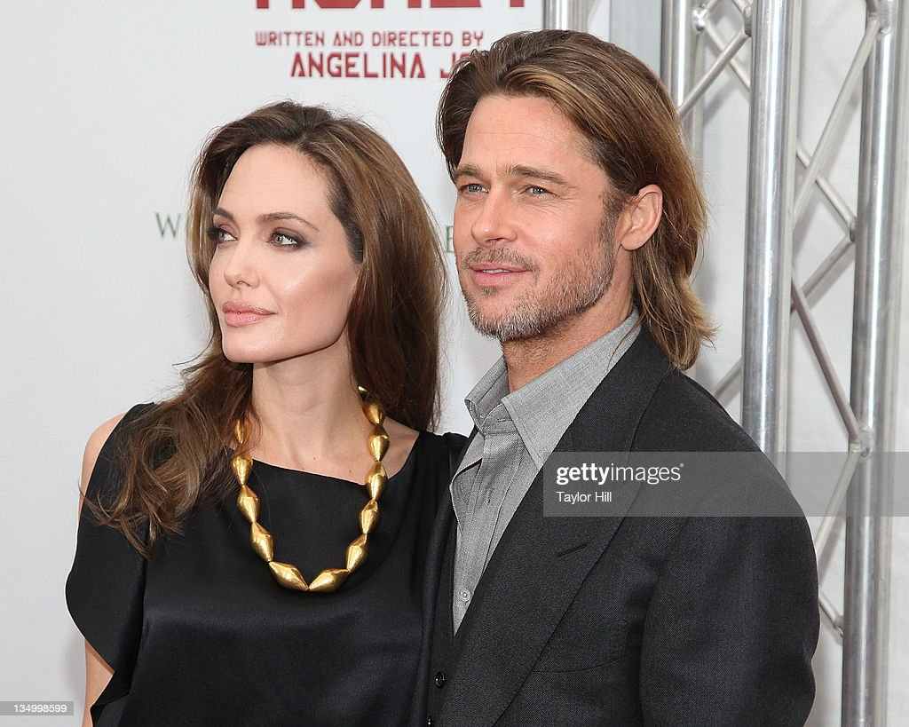 Actors <a gi-track='captionPersonalityLinkClicked' href=/galleries/search?phrase=Angelina+Jolie&family=editorial&specificpeople=201591 ng-click='$event.stopPropagation()'>Angelina Jolie</a> and <a gi-track='captionPersonalityLinkClicked' href=/galleries/search?phrase=Brad+Pitt+-+Actor&family=editorial&specificpeople=201682 ng-click='$event.stopPropagation()'>Brad Pitt</a> attend the premiere of 'In the Land of Blood and Honey' at the School of Visual Arts on December 5, 2011 in New York City.