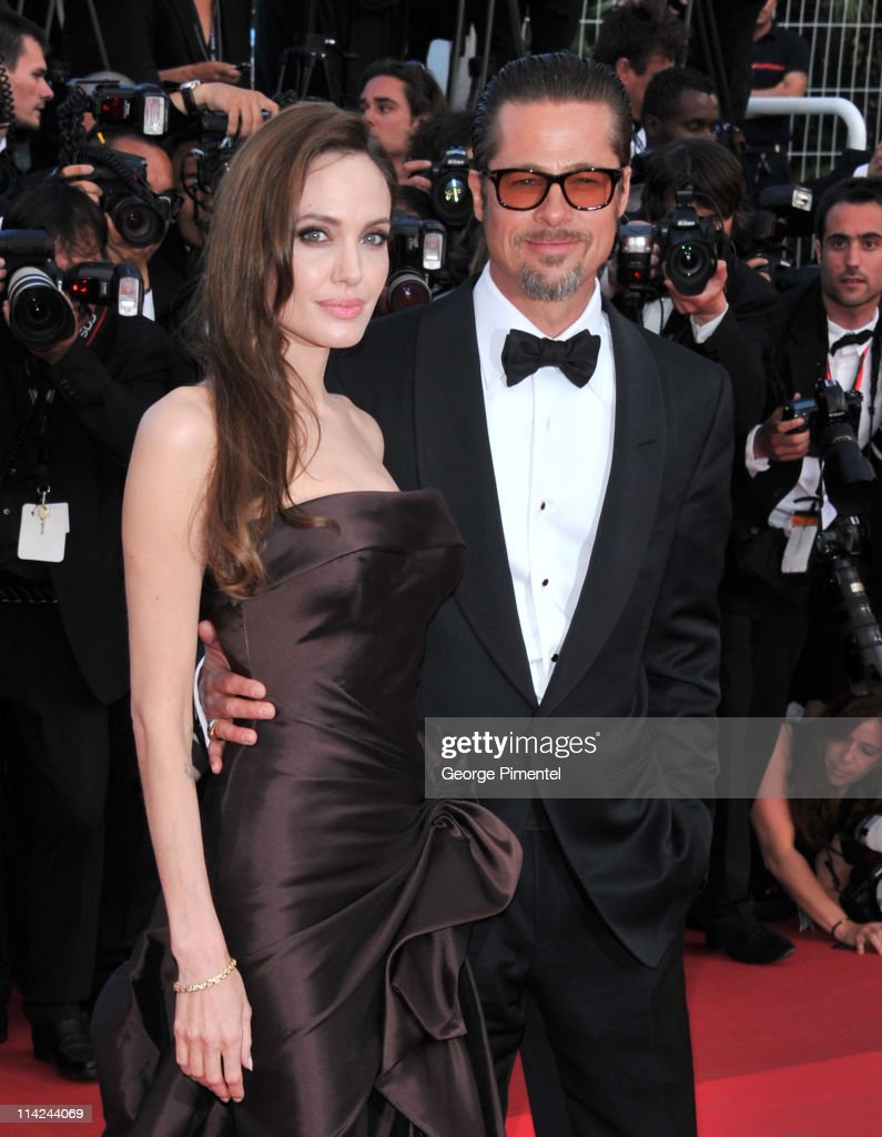 Actors Angelina Jolie and Brad Pitt attend 'The Tree Of Life' Premiere during the 64th Annual Cannes Film Festival at Palais des Festivals on May 16...