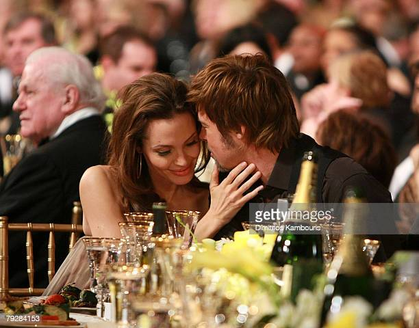 Actors Angelina Jolie and Brad Pitt backstage at the TNT/TBS broadcast of the 14th Annual Screen Actors Guild Awards at the Shrine Auditorium on...