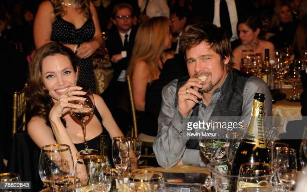 Actors Angelina Jolie and Brad Pitt inside at the 13th ANNUAL CRITICS' CHOICE AWARDS at the Santa Monica Civic Auditorium on January 7 2008 in Santa...